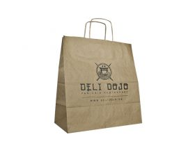 Paper bags with twisted handle - white and brown